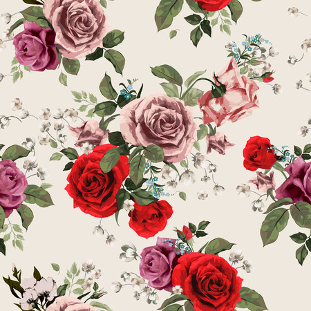 Ilustración de Seamless floral pattern with of red and pink roses on light background, watercolor  Vector illustration  - Imagen libre de derechos