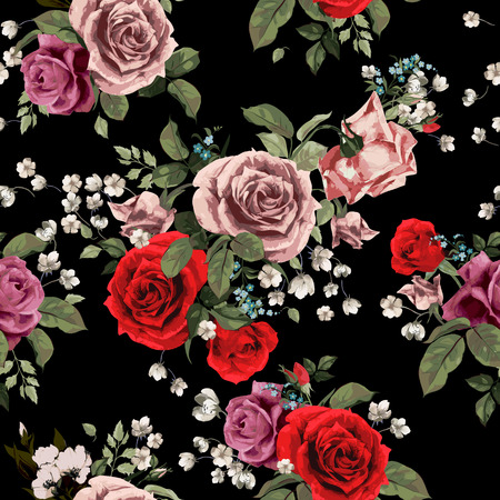 Ilustración de Seamless floral pattern with of red and pink roses on black background, watercolor  Vector illustration  - Imagen libre de derechos
