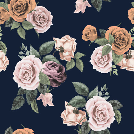 Illustration for Seamless floral pattern with of roses on dark background, watercolor  Vector illustration  - Royalty Free Image