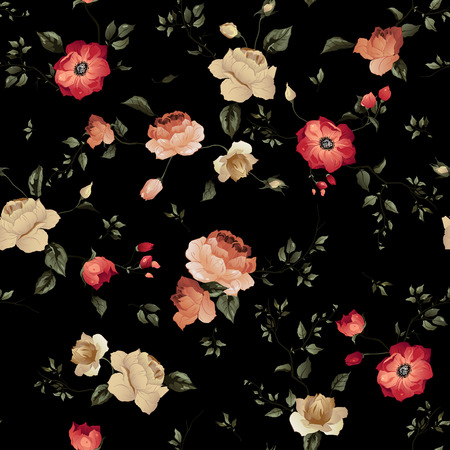 Illustration pour Seamless floral pattern with of roses on dark background, watercolor  Vector illustration  - image libre de droit