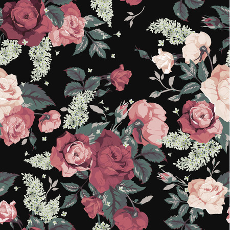 Illustration pour Seamless floral pattern with pink roses on black background, watercolor  Vector illustration  - image libre de droit