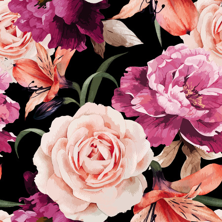 Ilustración de Seamless floral pattern with roses, watercolor. Vector illustration. - Imagen libre de derechos