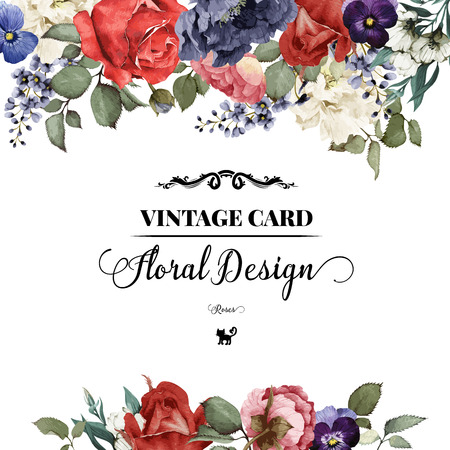 Photo for Greeting card with roses, watercolor, can be used as invitation card for wedding, birthday and other holiday and  summer background. Vector illustration. - Royalty Free Image