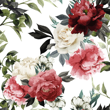 Photo for Seamless floral pattern with roses, watercolor. Vector illustration. - Royalty Free Image