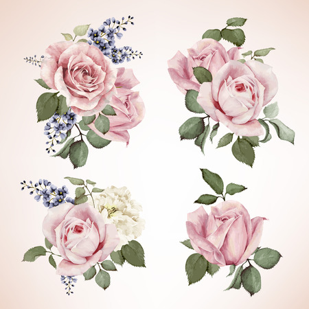 Illustration for Set of bouquets of roses, watercolor, can be used as greeting card, invitation card for wedding, birthday and other holiday and  summer background. Vector. - Royalty Free Image