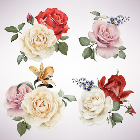 Ilustración de Set of vector bouquets of roses, watercolor, can be used as greeting card, invitation card for wedding, birthday and other holiday and  summer background. - Imagen libre de derechos