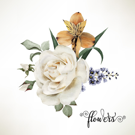 Foto de Bouquet of roses, watercolor, can be used as greeting card, invitation card for wedding, birthday and other holiday and  summer background. Vector. - Imagen libre de derechos