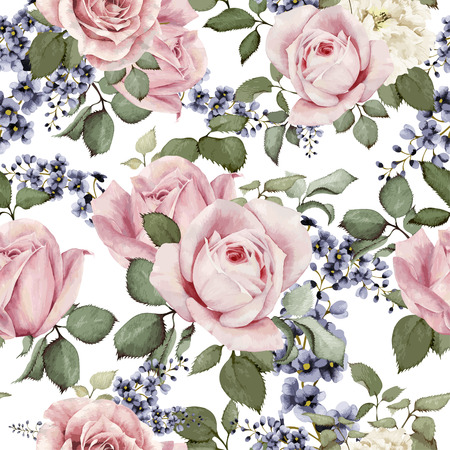 Illustration pour Seamless floral pattern with roses, watercolor. Vector illustration. - image libre de droit
