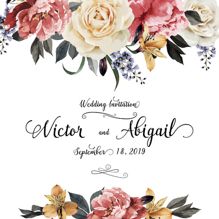 Illustration pour Greeting card with roses, watercolor, can be used as invitation card for wedding, birthday and other holiday and  summer background. Vector illustration. - image libre de droit