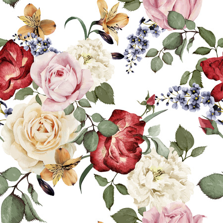 Illustrazione per Seamless floral pattern with roses, watercolor. Vector illustration. - Immagini Royalty Free