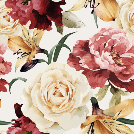 Foto de Seamless floral pattern with roses, watercolor. Vector illustration. - Imagen libre de derechos