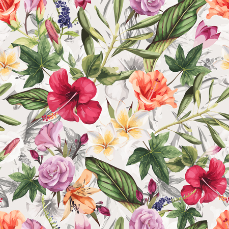 Illustration for Seamless floral pattern with tropical flowers, watercolor. Vector illustration. - Royalty Free Image