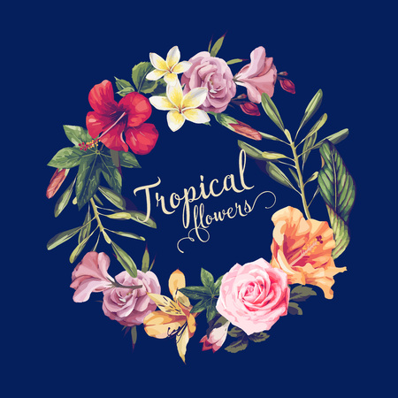 Illustration pour Greeting card with tropical flowers, watercolor, can be used as invitation card for wedding, birthday and other holiday and summer background. Vector illustration. - image libre de droit