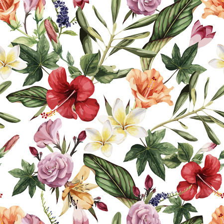 Illustrazione per Seamless floral pattern with tropical flowers, watercolor. Vector illustration. - Immagini Royalty Free