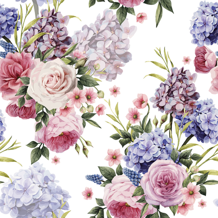 Ilustración de Seamless floral pattern with roses, watercolor. Vector illustration.