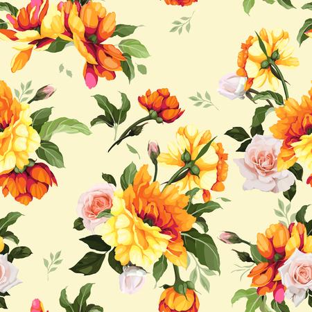 Illustration pour Seamless floral pattern with flowers, watercolor. Vector illustration. - image libre de droit