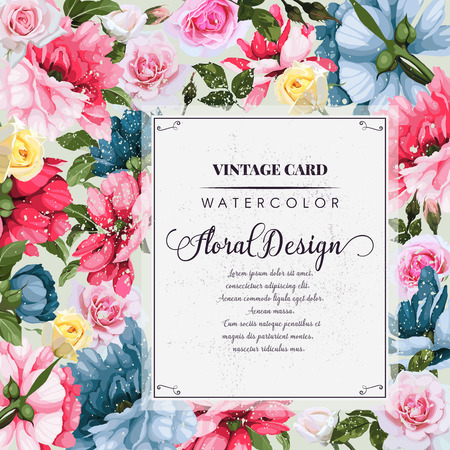 Ilustración de Greeting card with peonies, watercolor, can be used as invitation card for wedding, birthday and other holiday and summer background. Vector illustration. - Imagen libre de derechos