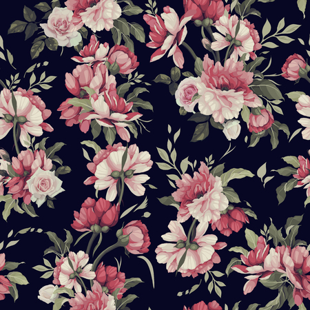 Illustration pour Seamless floral pattern with roses. Vector illustration. - image libre de droit