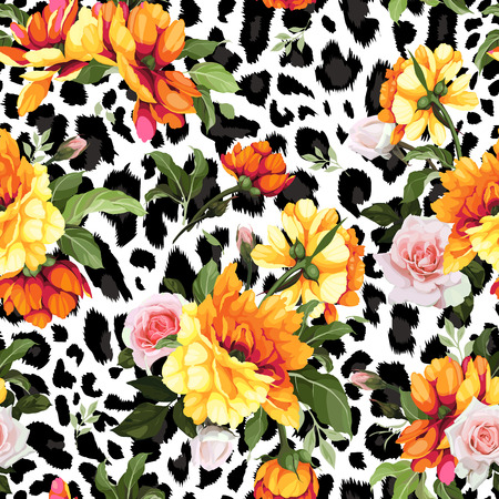 Illustration for Seamless floral pattern with roses, watercolor. Vector illustration. - Royalty Free Image