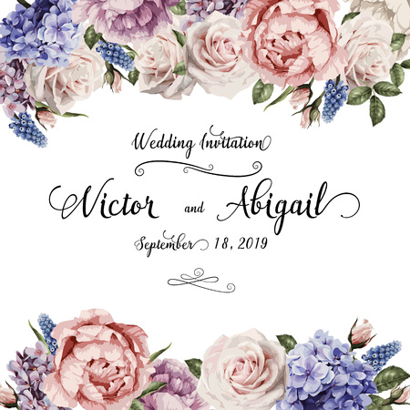 Illustration pour Greeting card with roses, can be used as invitation card for wedding, birthday and other holiday and summer background. Vector illustration. - image libre de droit
