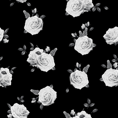 Illustration for Seamless floral pattern with roses. Vector illustration. - Royalty Free Image