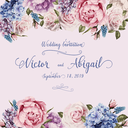 Ilustración de Greeting card with roses, watercolor, can be used as invitation card for wedding, birthday and other holiday and summer background. Vector illustration. - Imagen libre de derechos