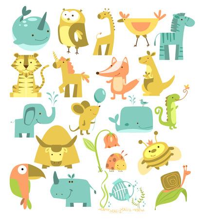 Animals set. Cute cartoon animals. Zoo illustration.