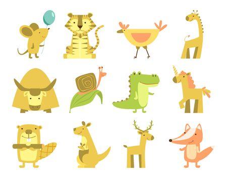 Cartoon different animals isolated. Cute animals set