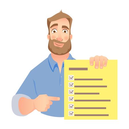 Illustration pour Man holding checklist. Businessman points to check list. Vector - image libre de droit