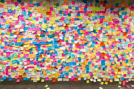Photo for Sticky post-it notes in NYC subway station - Royalty Free Image