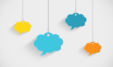 Illustration pour Speech Bubble Clouds Hanging On Strings - image libre de droit