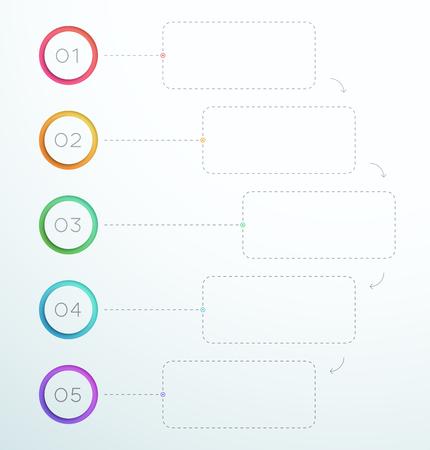 Ilustración de Infographic Number Circle Rings 1 to 5 template. - Imagen libre de derechos