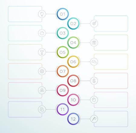 Ilustración de Infographic Number Circle Rings 1 to 12 Vector - Imagen libre de derechos