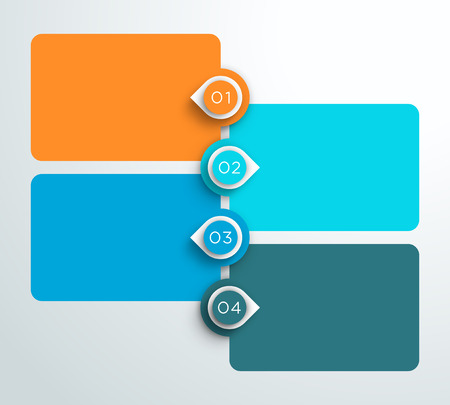 Illustration pour 1 to 4 Number Text Boxes Stacked Info-graphic on white background. - image libre de droit