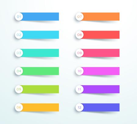 Illustration pour Vector Colorful Banner Elements Number 1 to 12 - image libre de droit