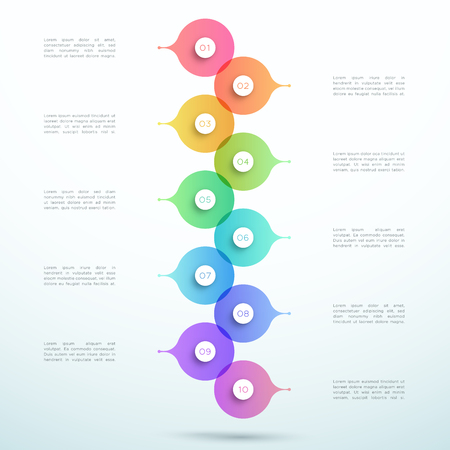 Illustration pour Abstract Vector 3d Stacked 10 Step Circle Infographic - image libre de droit