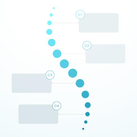 Illustration pour Abstract Blue Flat 4 Step Circles Vertical Timeline. - image libre de droit