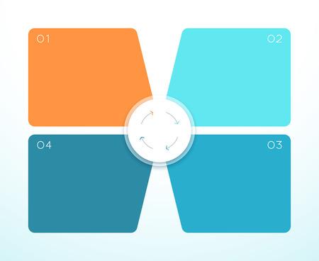 Illustrazione per Vector 3d Colorful 4 Square Infographic Diagram - Immagini Royalty Free