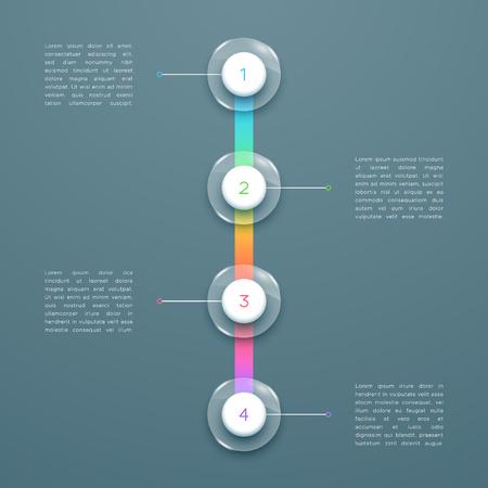 Illustration pour 4 Step Colorful 3d Vertical Time Line Infographic Template - image libre de droit