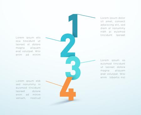Illustration pour Number Steps 1 to 4 Infographic Vector Design - image libre de droit