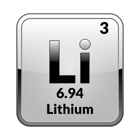 Illustration pour Lithium symbol.Chemical element of the periodic table on a glossy white background in a silver frame.Vector illustration. - image libre de droit