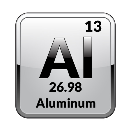 Illustrazione per Aluminum symbol.Chemical element of the periodic table on a glossy white background in a silver frame.Vector illustration. - Immagini Royalty Free
