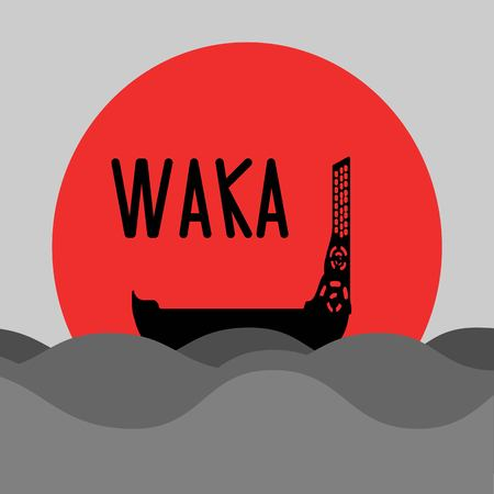 Illustration pour New Zealand islands maori etnic canoe. Waka traditional wooden boat in front of rising sun. - image libre de droit