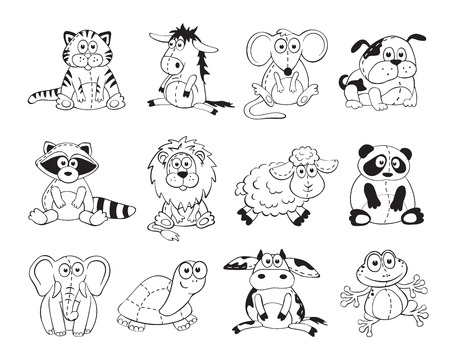 Photo pour Cute cartoon animals isolated on white background. Stuffed toys set. Cartoon animals outline collection. - image libre de droit