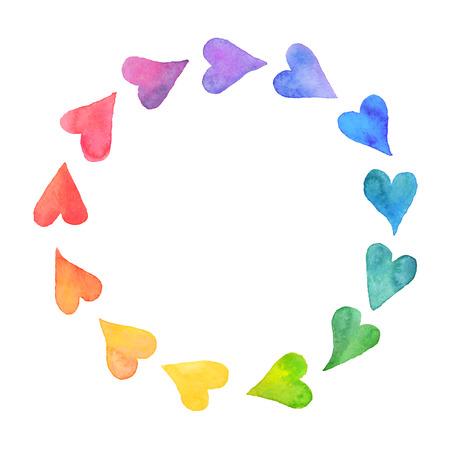 Illustration pour Watercolor hearts design element. Colorful  frame from watercolor hearts. Colorful watercolor romantic card template. Rainbow circle shape drawn with paints. - image libre de droit
