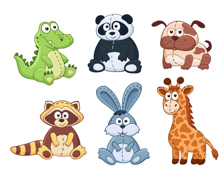 Photo pour Cute cartoon animals isolated on white background. Stuffed toys set. Vector illustration of adorable plush baby animals. Crocodile, panda, dog, raccoon, bunny, giraffe. - image libre de droit