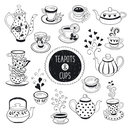 Ilustración de Hand drawn teapot and cup collection. Doodle tea cups, coffee cups and teapots isolated on white background. Vector illustration on tea time icons for cafe and restaurant menu design. - Imagen libre de derechos