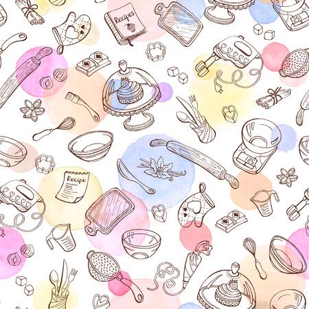 Illustration pour Baking doodle background.  - image libre de droit