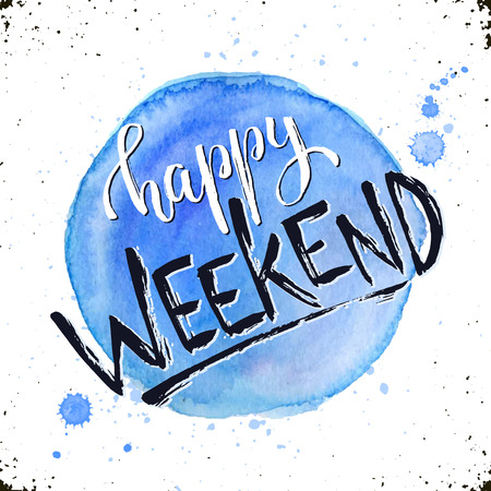 Illustration pour Happy weekend text hand drawn with dry brush. Bright and modern ink lettering for posters and greeting cards design. Inspirational phrase with watercolor spot on background. - image libre de droit