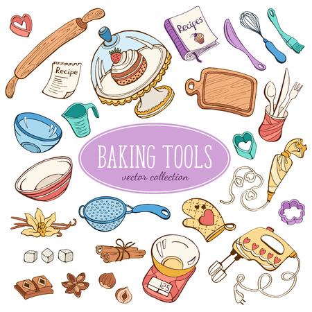 Illustration pour Baking items collection in doodle style. Hand drawn kitchen tools set in pastel colors. - image libre de droit
